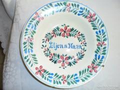 Feliratos hollóházi porcelán fali tányér