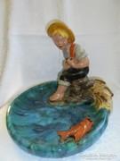 Hatalmas mérető Komlós kerámia horgász figurás tál