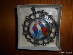 Antik ezüst medál festett porcelán középpel