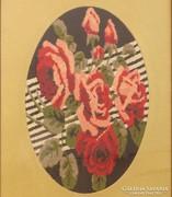0K823 Régi gobelin rózsa csendélet keretben