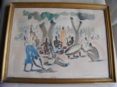 Paul Daxhelet reprodukció nyomat - Usumbura piac