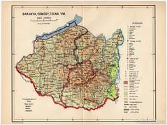 Baranya, Somogy, Tolna vármegye térkép 1935