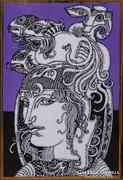 0L096 Szász Endre porcelán falikép