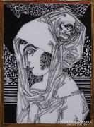 0L097 Szász Endre porcelán falikép