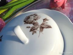 Rózsás porcelán vajtartó