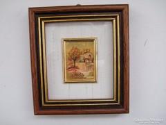 Valódi arany fóliára nyomott litográfia, kép keretben