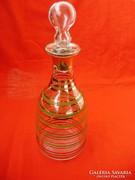 Antik aranyozott,festett konyakos,likőrös üveg