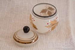 Antik szőlőlevél mintás üveg cukorkatartó, bonbonier (barna)