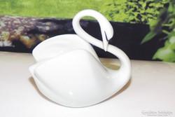 Régi hollóházi porcelán hattyú nipp, vitrindísz, figura 4