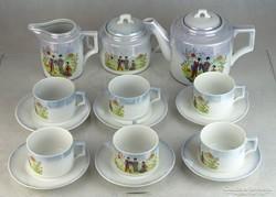 0L255 Régi pagodás Zsolnay porcelán teáskészlet