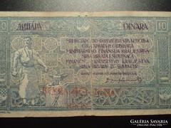 Yugoszláv 10 dinár 40 kruna FELÜLBÉLYEGZÉS 1919
