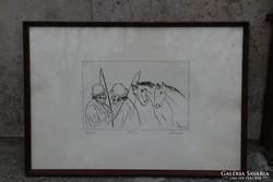 Borsos Miklós a Kocsisok című sorszámozott ceruza rajza