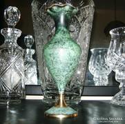 Tűzzománc-sárgaréz váza