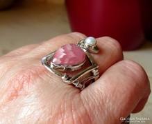 LEÁRAZVA! Rodokrozit, valódi gyöngy - ezüst gyűrű