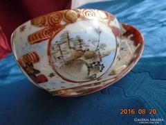 ANTIK KUTANI-csak kézzel festett-aranykontúrozott-különleges jelzéssel teás csésze alátéttel