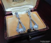Régi markazitos ezüst fülbevaló gyöngy díszítéssel