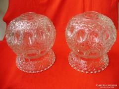 Antik fodros üveg lámpabúrák párban