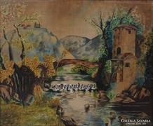 0K906 Jelzett festmény : Várrajz 1921