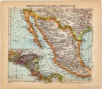 Amerikai Egyesült Államok és Mexikó III. térkép 1929, magyar