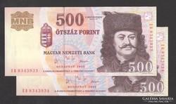 """500 forint 2003. """"EB"""". 2 db sorszám köv.! UNC !"""