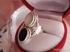 Hatalmas ónix és gyöngyház ezüst gyűrű