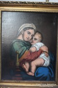 ANTIK  MÁRIA ,KIS JÉZUS FESTMÉNY XIX.SZ. Madonna !