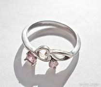 2 rózsaszín köves ezüst gyűrű