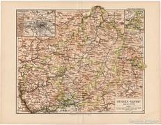 Hessen - Nassau térkép 1892, eredeti, német, régi