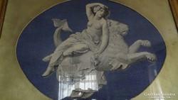 Óriás goblein keresztszemes  antik falikép. Ritkaság !