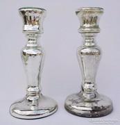 Antik foncsorozott - szakított üveg gyertyatartó párban