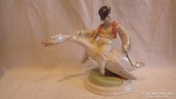 Herendi Ludas Matyi porcelán szobor 21 cm hibátlan