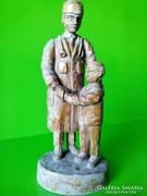 Kiss Ernő - a Népművészet mestere-fa faragott faszobor jelzett szobor múzeumi ritkaság