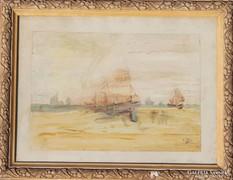 Francia festő (?),1924: Hajók a tengeren