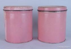 0L292 Régi rózsaszín fém fűszertartó tégely pár