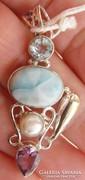 925 ezüst medál, szép felhős larimár, topáz, ametiszt,gyöngy
