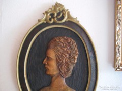 Barokkos  régi ,fatáblára faragott ,fali kép