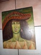 L.Mann: Reneszánsz kalapos portré, régi olaj-vászon