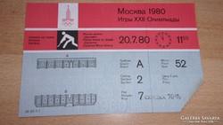1980  OLIMPIAI BELÉPŐJEGY!    RR!