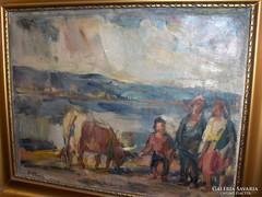 P.Bak János festménye: Beszélgetők c.