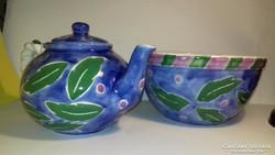 Képcsarnokos jelzett kerámia tea kiöntő és kínáló tál jelzett kedvező áron !
