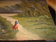 E 10  Olaj festmény  élénk színű 40x 30 cm jelzett