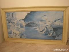 E 10 Csontváry stílusú akvarell festmény 90x 50 cm