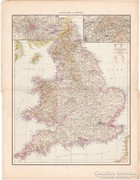 Anglia és Wales, Skócia, Írország térkép 1887, német atlasz, Brit - szigetek, észak, eredeti, antik