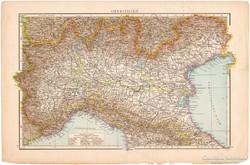 Felső - Olaszország térkép 1887, német, eredeti, régi, Európa, Itália, antik, észak