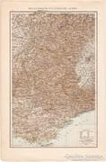 Francia - Olasz - Alpok, Délkelet - Franciaország térkép 1887, Európa, eredeti, antik, régi