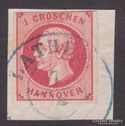 1852. Hannover 1 Groschen kivágáson, Mi#14b.