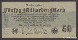 1923. Reichsbanknote 50 Milliárd, ritkább.
