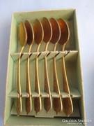 Aranyozott nysilver mokkáskanál készlet saját dobozában
