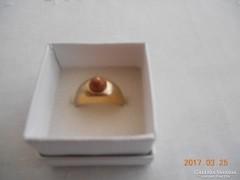 KIÁRUSÍTÁS!Régi Jelzett  18 K ge Aranyozott Gyűrű Korall Gyönggyel!