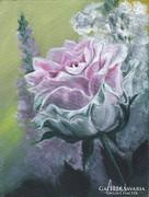 Rózsa szarkalábbal c. festmény, csendélet